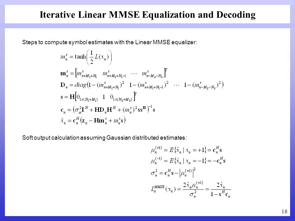 Iterative Linear MMSE Equalization and Decoding
