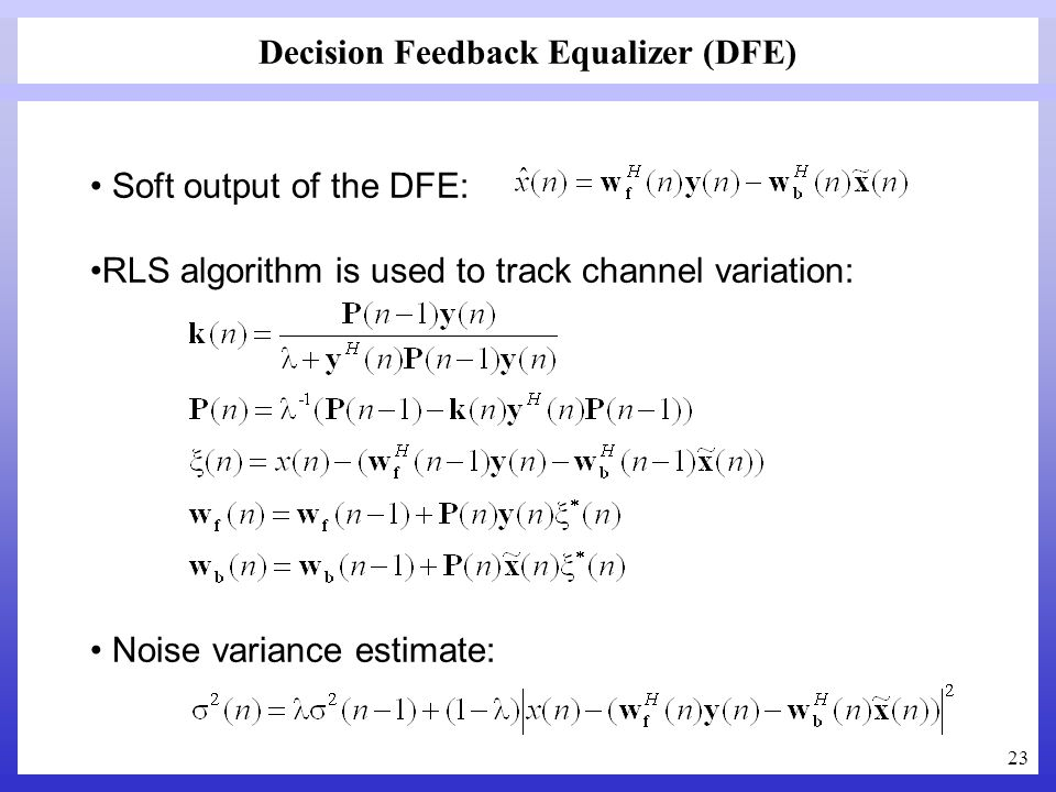 Decision Feedback Equalizer (DFE)