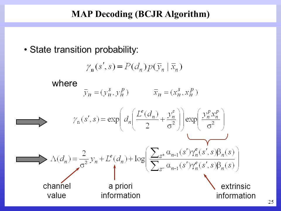MAP Decoding (BCJR Algorithm)