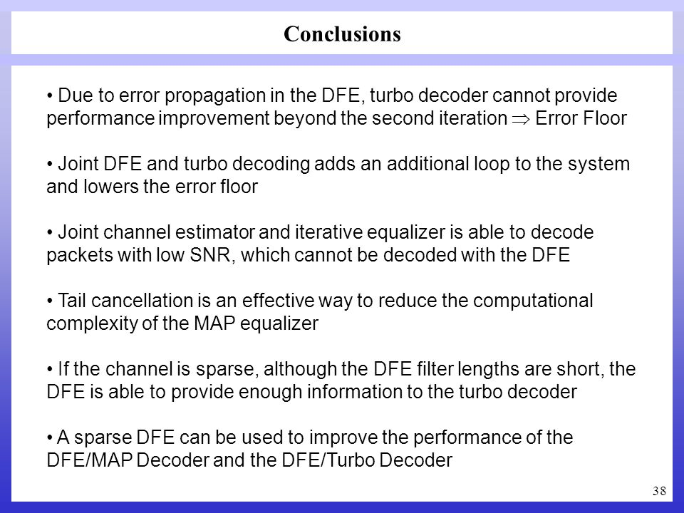 Conclusions Due to error propagation in the DFE, turbo decoder cannot provide performance improvement beyond the second iteration  Error Floor.