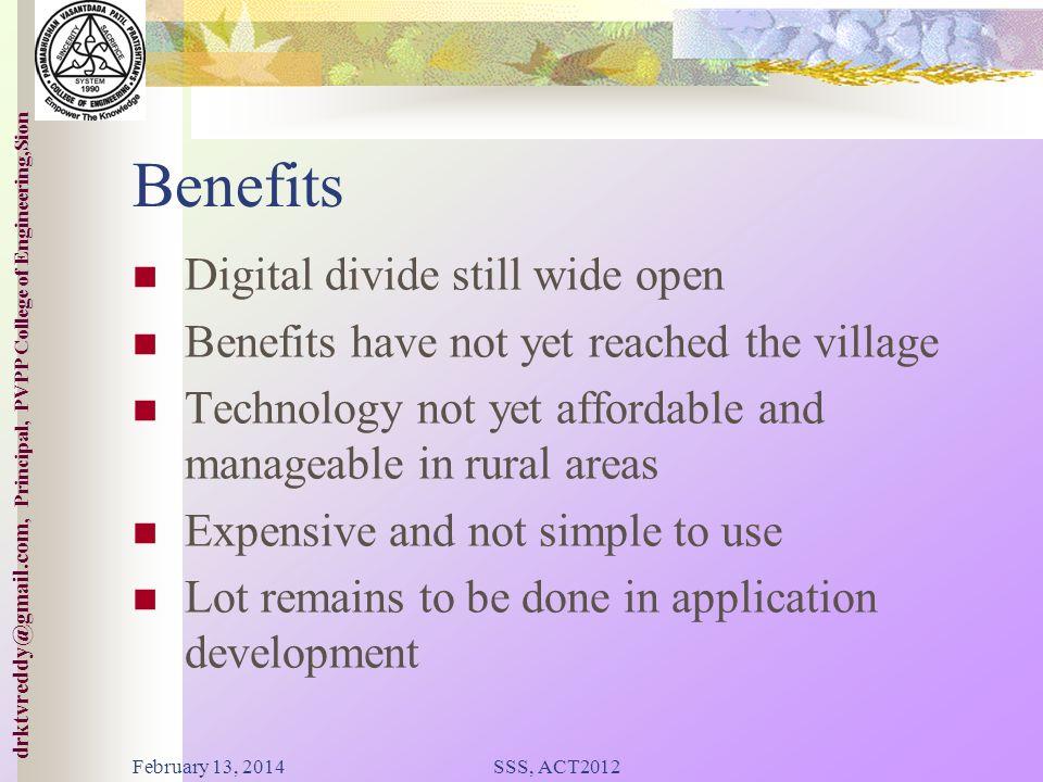 Benefits Digital divide still wide open