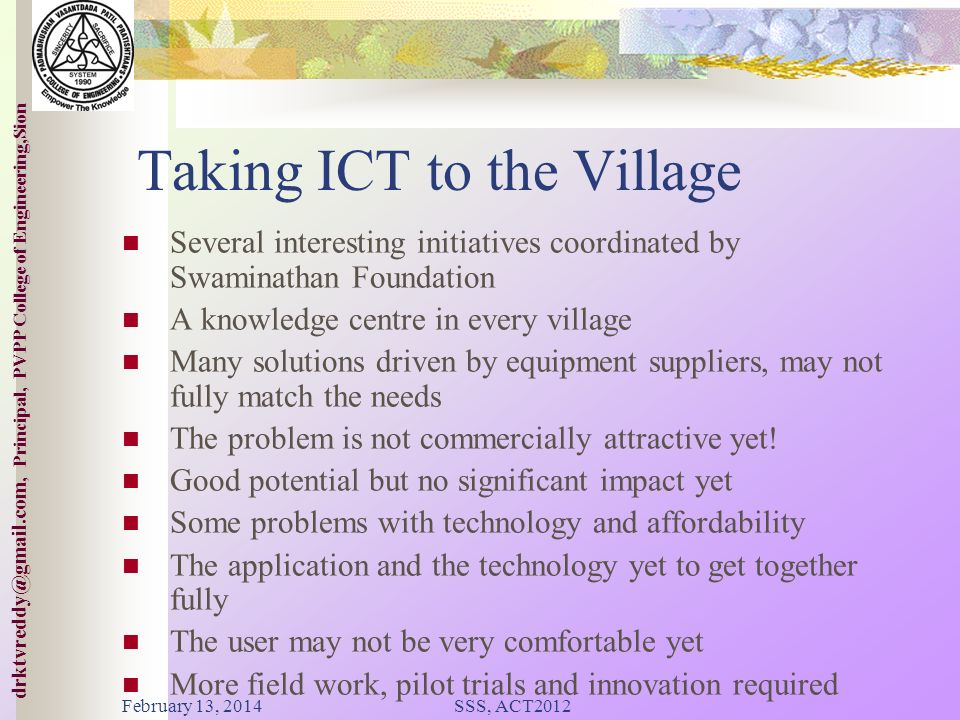 Taking ICT to the Village
