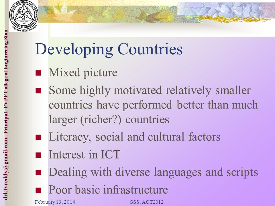 Developing Countries Mixed picture