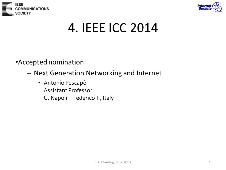 4. IEEE ICC 2014 Accepted nomination