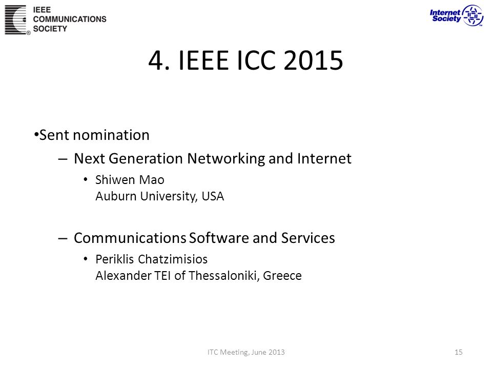 4. IEEE ICC 2015 Sent nomination