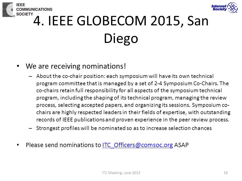 4. IEEE GLOBECOM 2015, San Diego