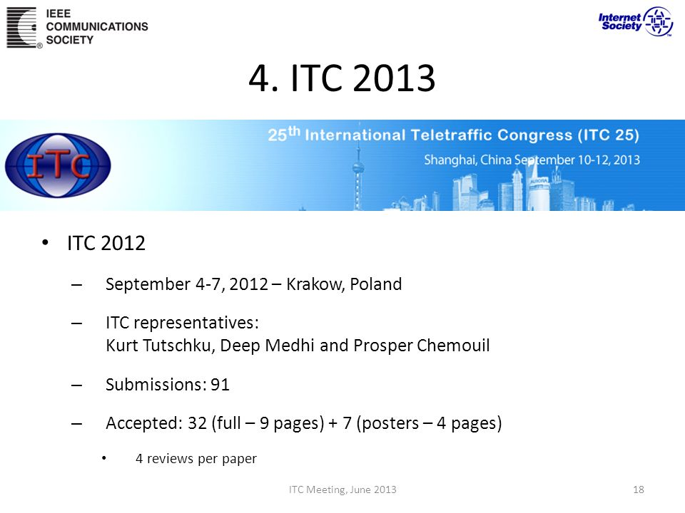 4. ITC 2013 ITC 2012 September 4-7, 2012 – Krakow, Poland