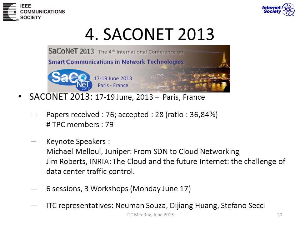 4. SACONET 2013 SACONET 2013: 17-19 June, 2013 – Paris, France