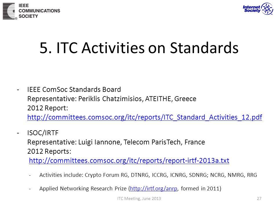 5. ITC Activities on Standards