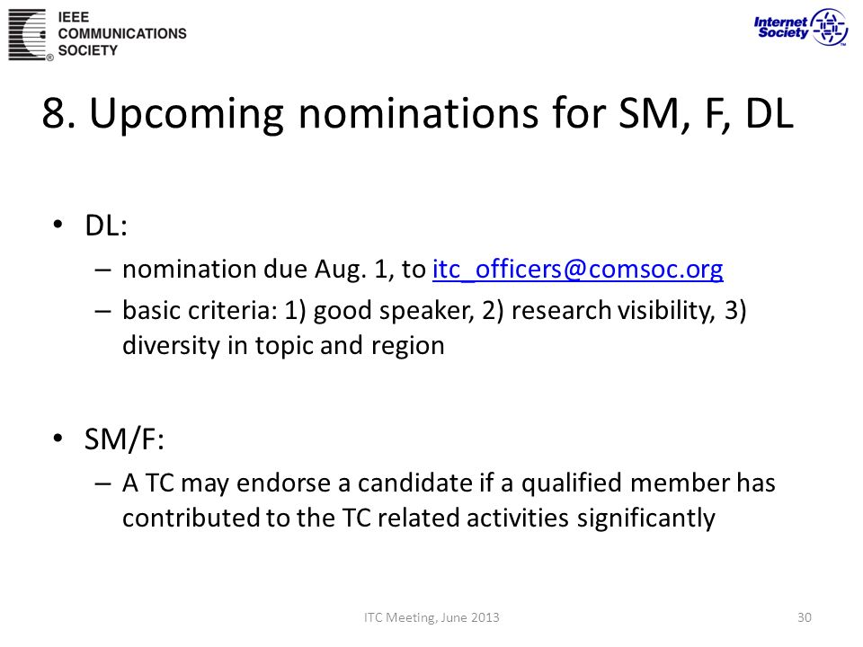 8. Upcoming nominations for SM, F, DL