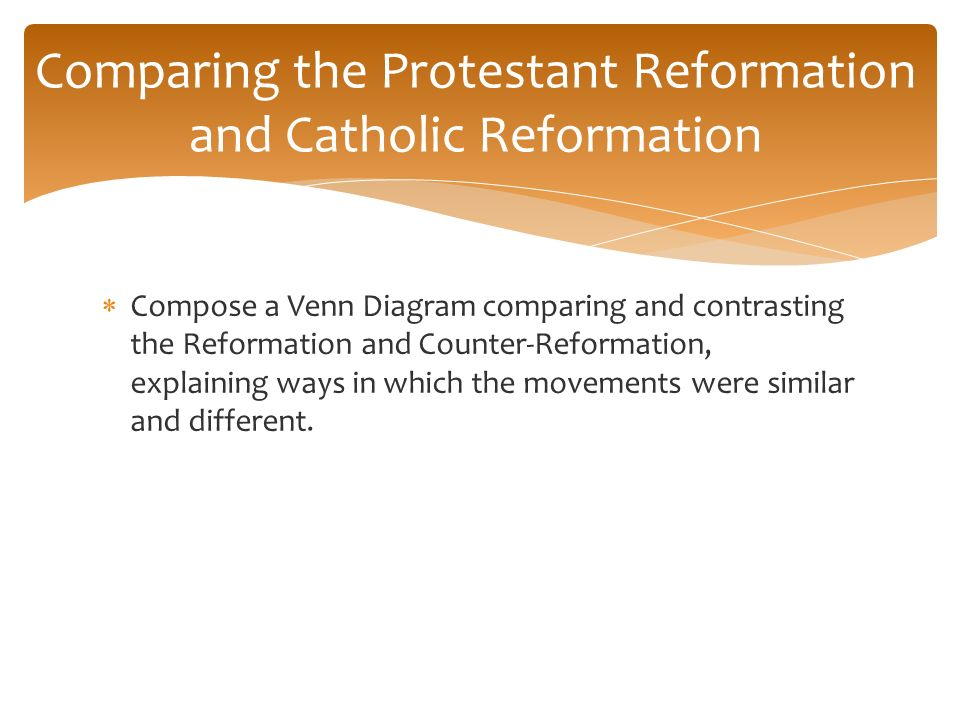 protestant and catholic reformation essays History: european term papers (paper 3164) on protestant reformation: the reformation of the roman catholic church was a major 16th-century religious revolution a revolution, which ended the ecclesiastical supremacy of.