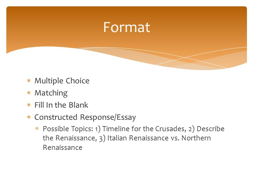 renaissance thematic essay questions Thematic learning objectives 10  on free-response questions and to increase the amount of choice and flexibility on the exam  long essay question.
