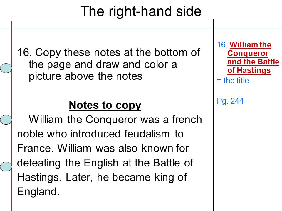 The right-hand side 16. Copy these notes at the bottom of the page and draw and color a picture above the notes.