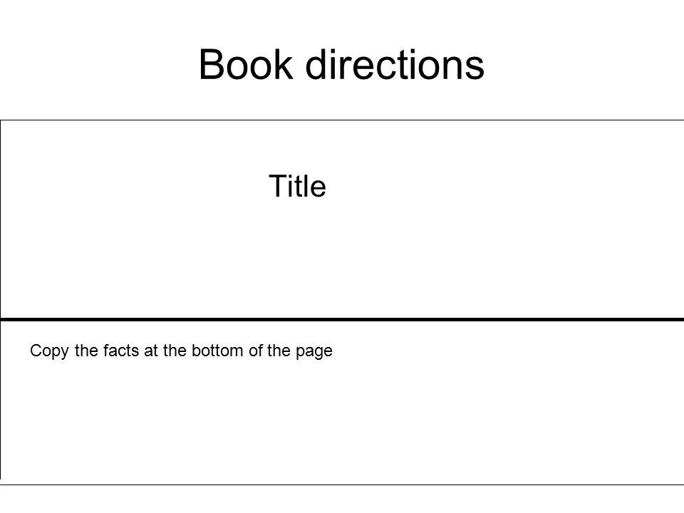 Book directions Title Copy the facts at the bottom of the page