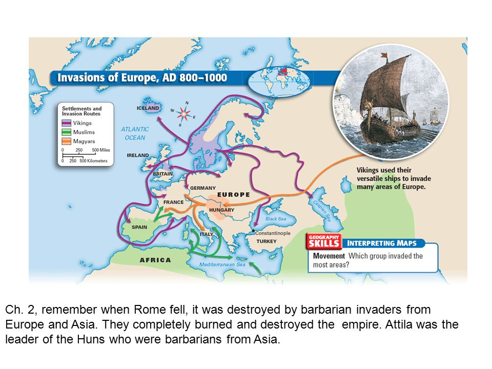 Ch. 2, remember when Rome fell, it was destroyed by barbarian invaders from