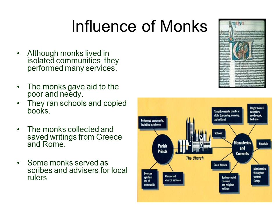 Influence of Monks Although monks lived in isolated communities, they performed many services. The monks gave aid to the poor and needy.