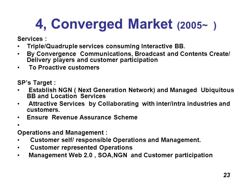 4, Converged Market (2005~ ) Services :