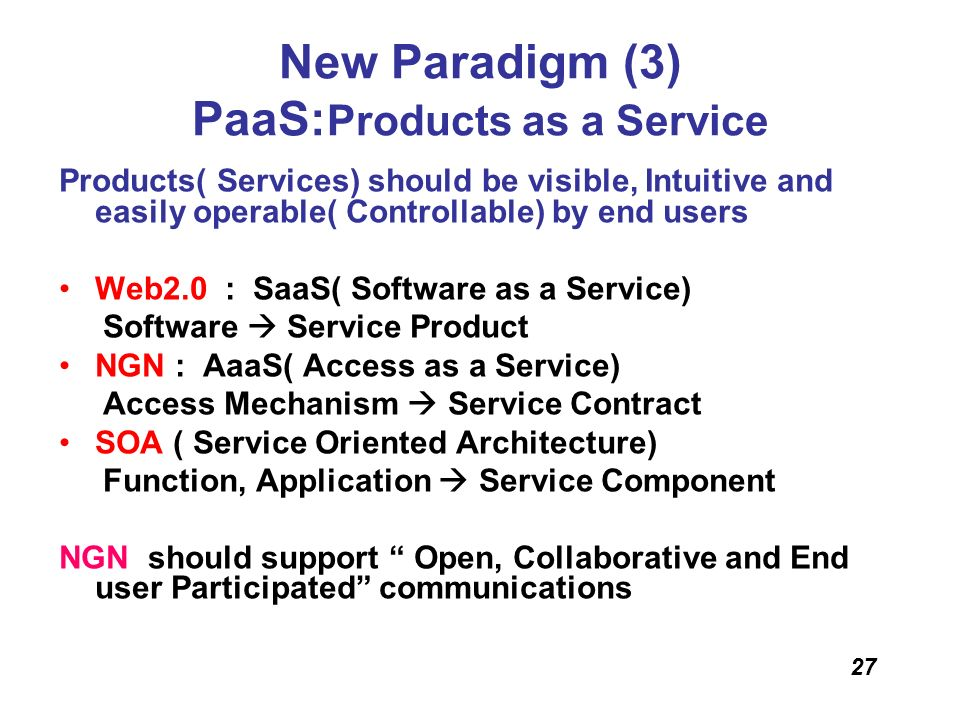 New Paradigm (3) PaaS:Products as a Service