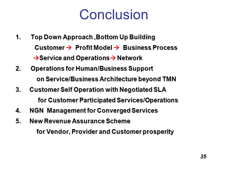 Conclusion Top Down Approach ,Bottom Up Building