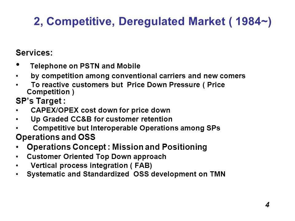 2, Competitive, Deregulated Market ( 1984~)