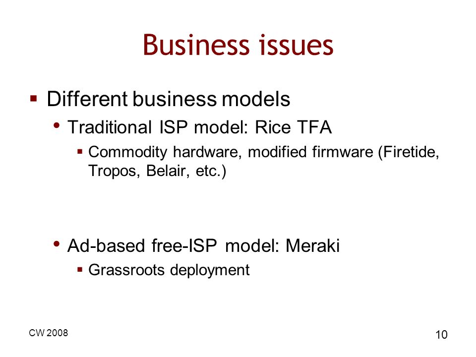 Business issues Different business models