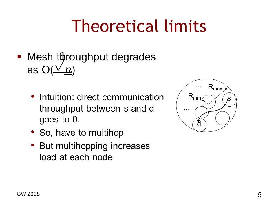Theoretical limits 1 p n Mesh throughput degrades as O( )