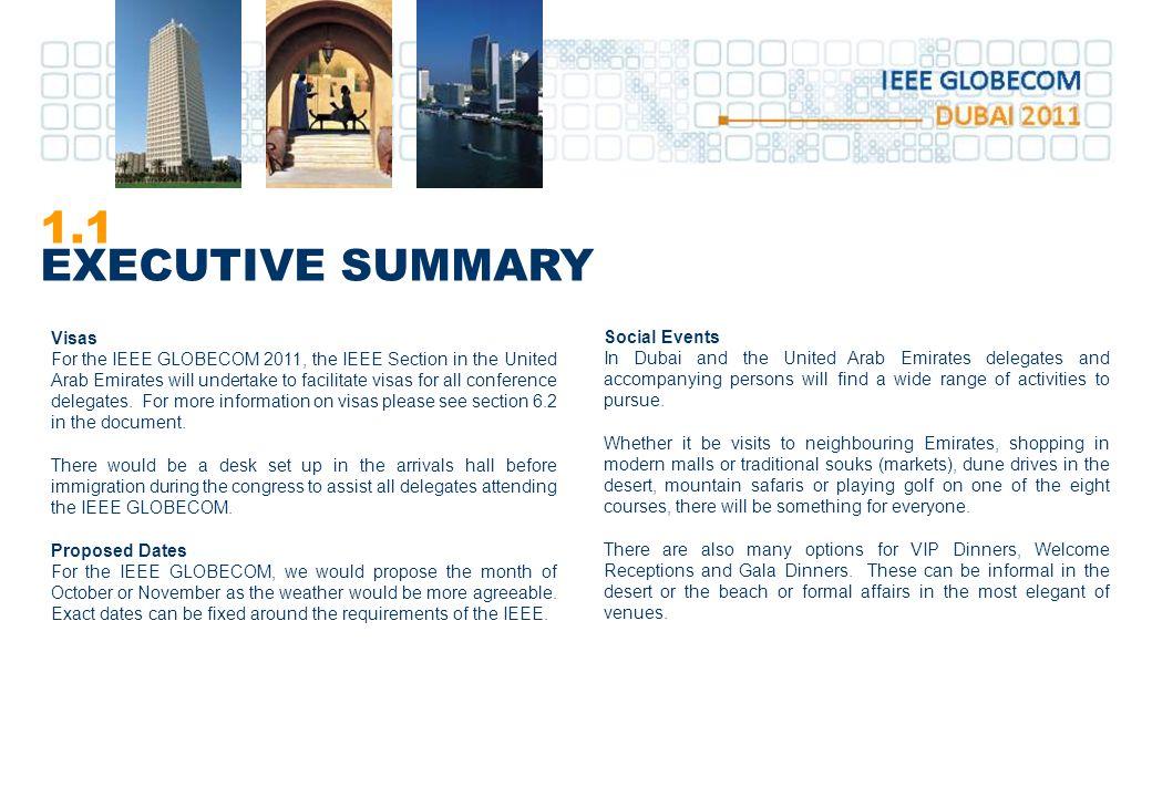 1.1 EXECUTIVE SUMMARY Visas Social Events