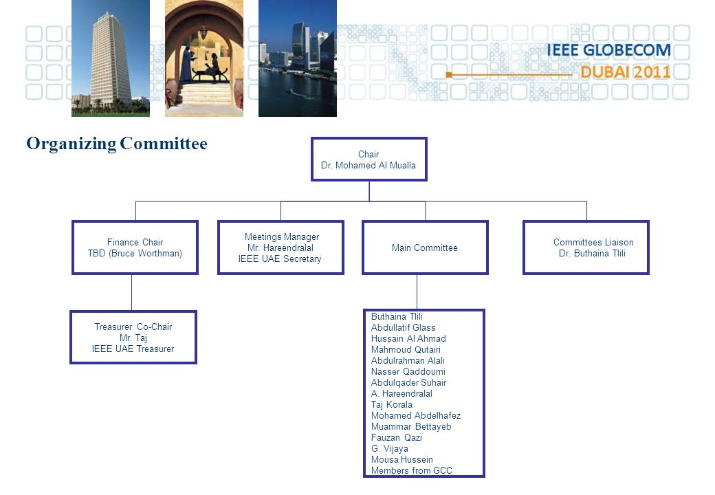 Organizing Committee Chair Dr. Mohamed Al Mualla Finance Chair