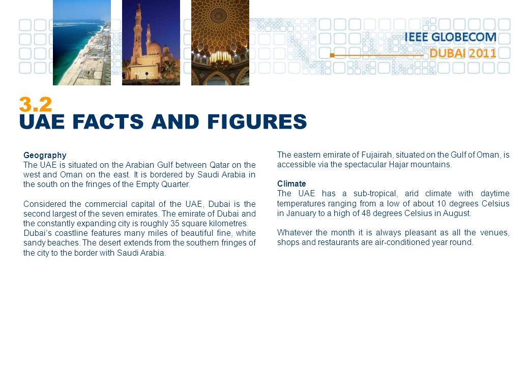 3.2 UAE FACTS AND FIGURES Geography