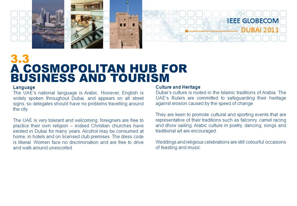 3.3 A COSMOPOLITAN HUB FOR BUSINESS AND TOURISM Language