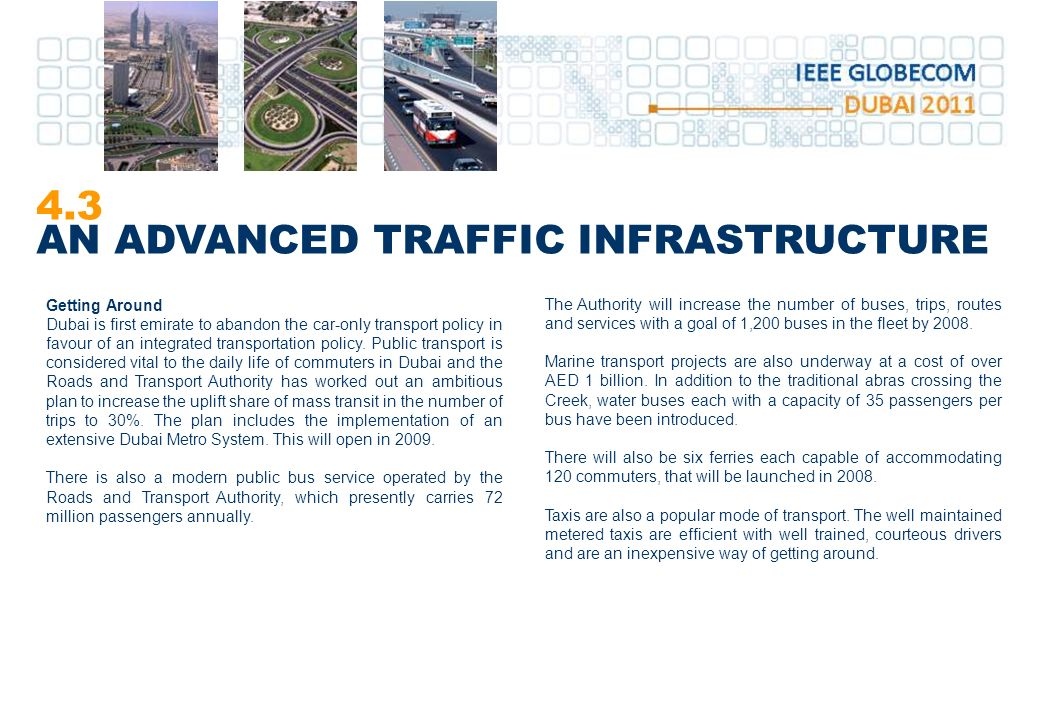 4.3 AN ADVANCED TRAFFIC INFRASTRUCTURE