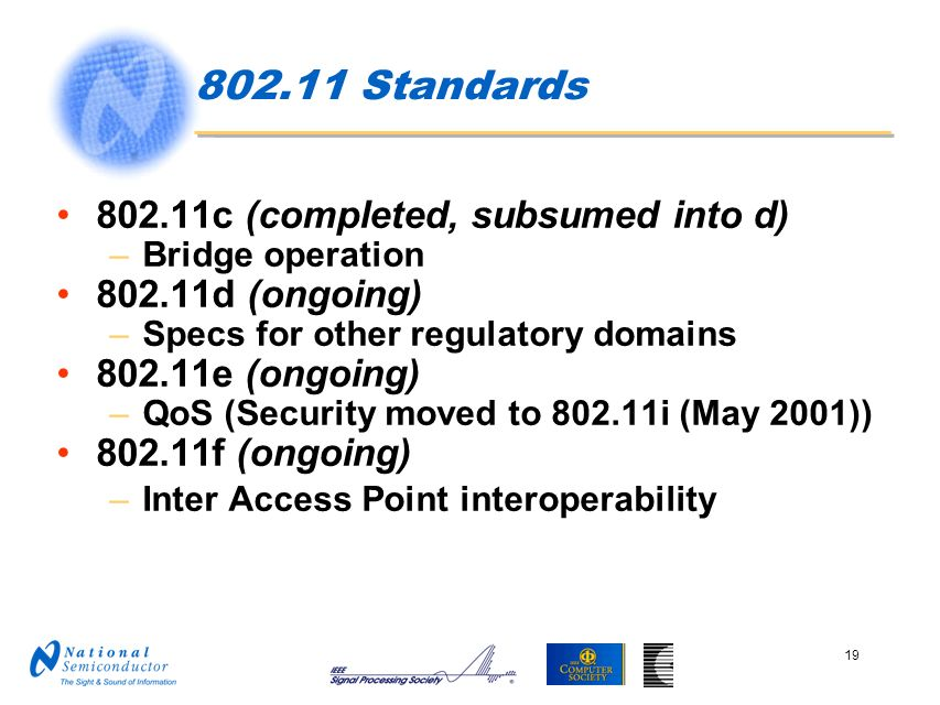 802.11 Standards 802.11c (completed, subsumed into d)