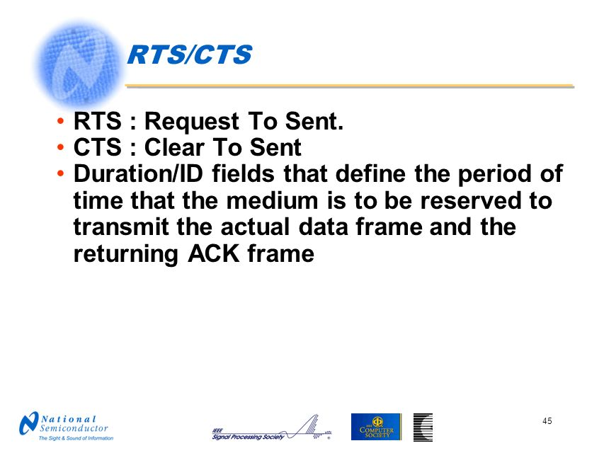 RTS/CTS RTS : Request To Sent. CTS : Clear To Sent