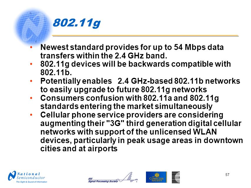 802.11g Newest standard provides for up to 54 Mbps data transfers within the 2.4 GHz band.