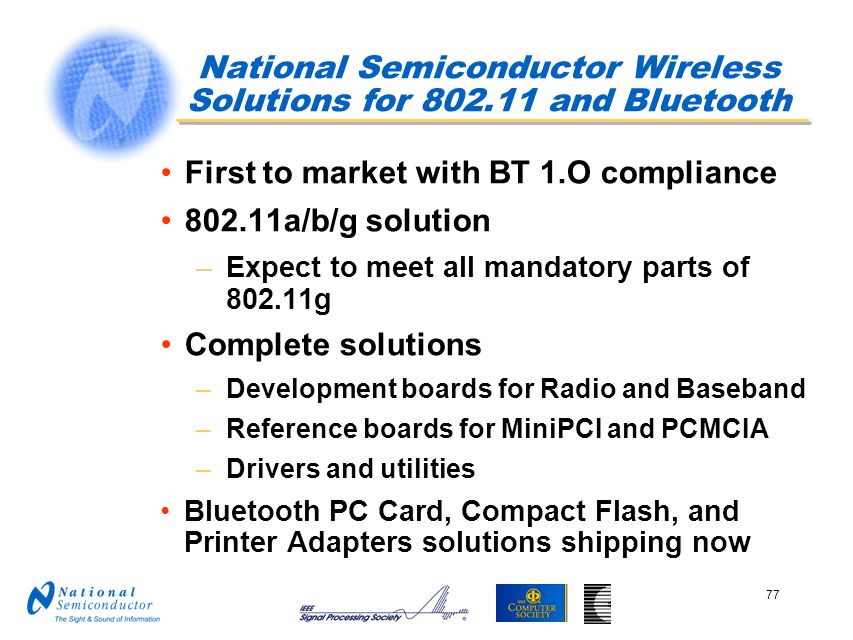 National Semiconductor Wireless Solutions for and Bluetooth