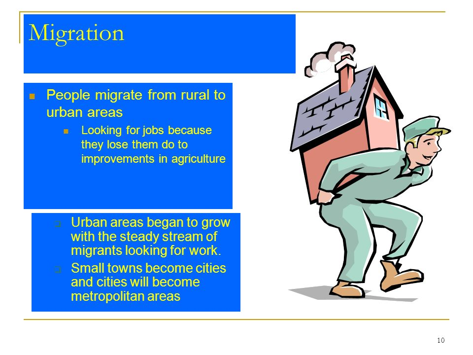 Migration People migrate from rural to urban areas