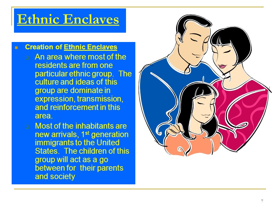 Ethnic Enclaves Creation of Ethnic Enclaves.