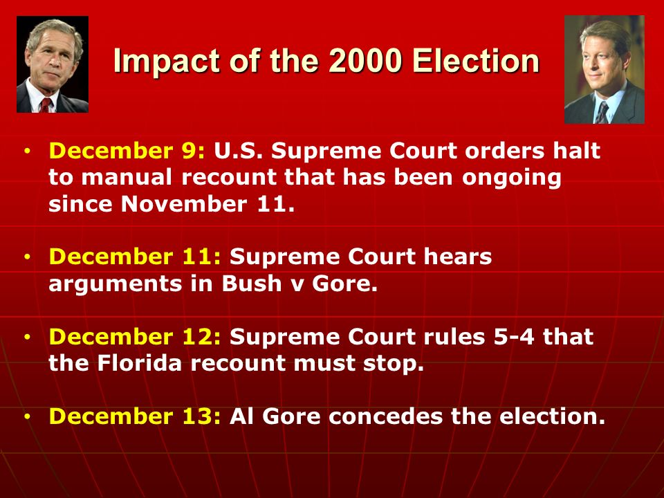 supreme court in 2000 election essay - the 2000 us presidential election the united states holds an election every four years in order to find the new president in which to run the country the 2000 election was no different it brought about a new president for the united states, george w bush.