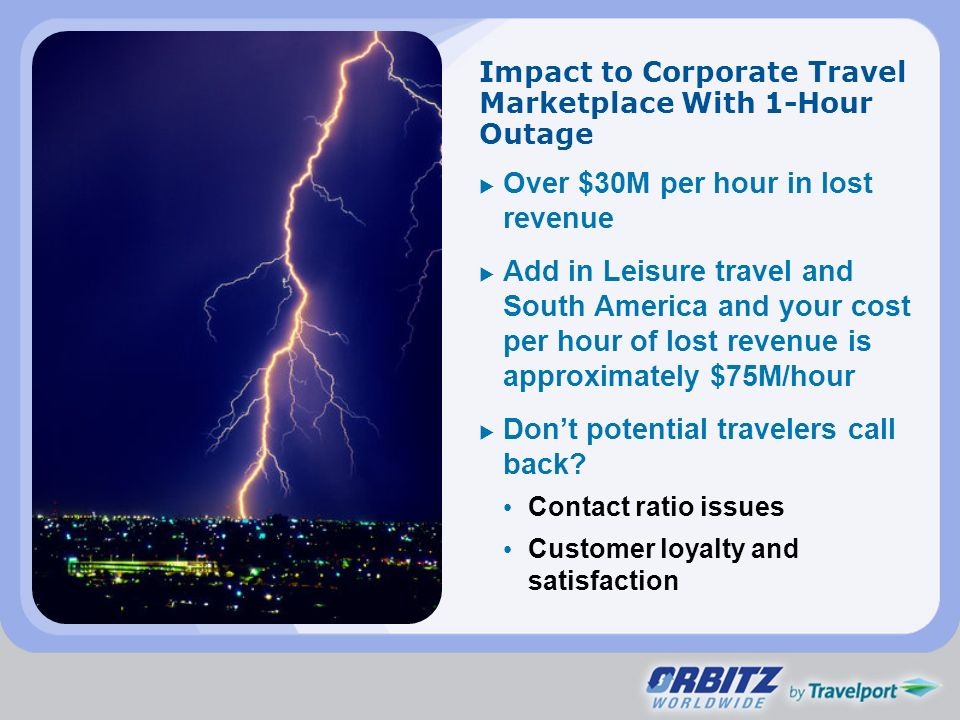 Impact to Corporate Travel Marketplace With 1-Hour Outage