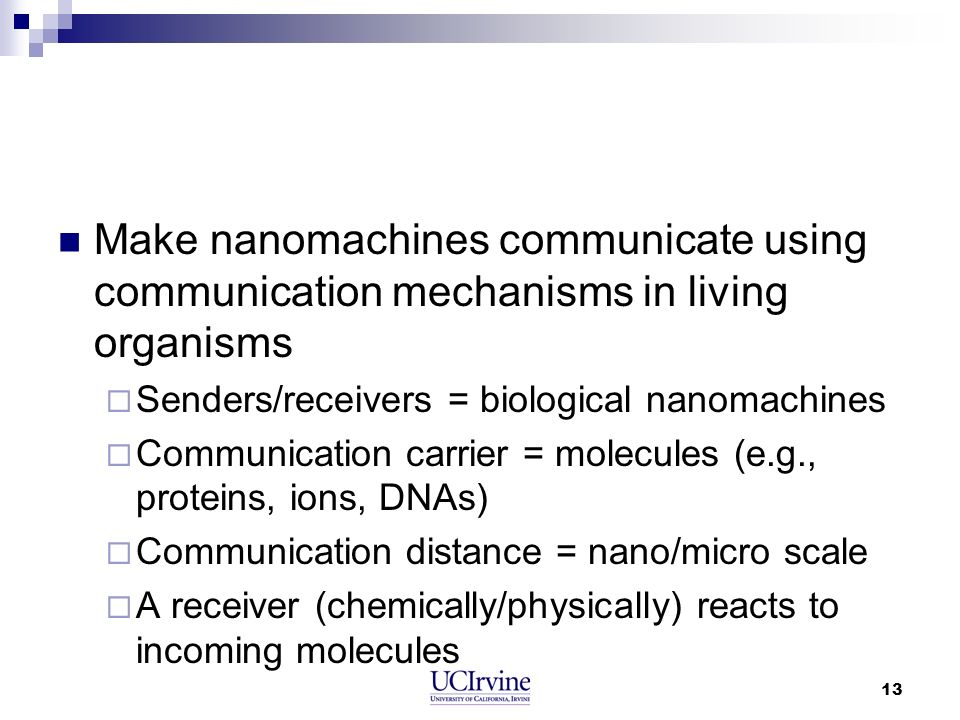 Make nanomachines communicate using communication mechanisms in living organisms