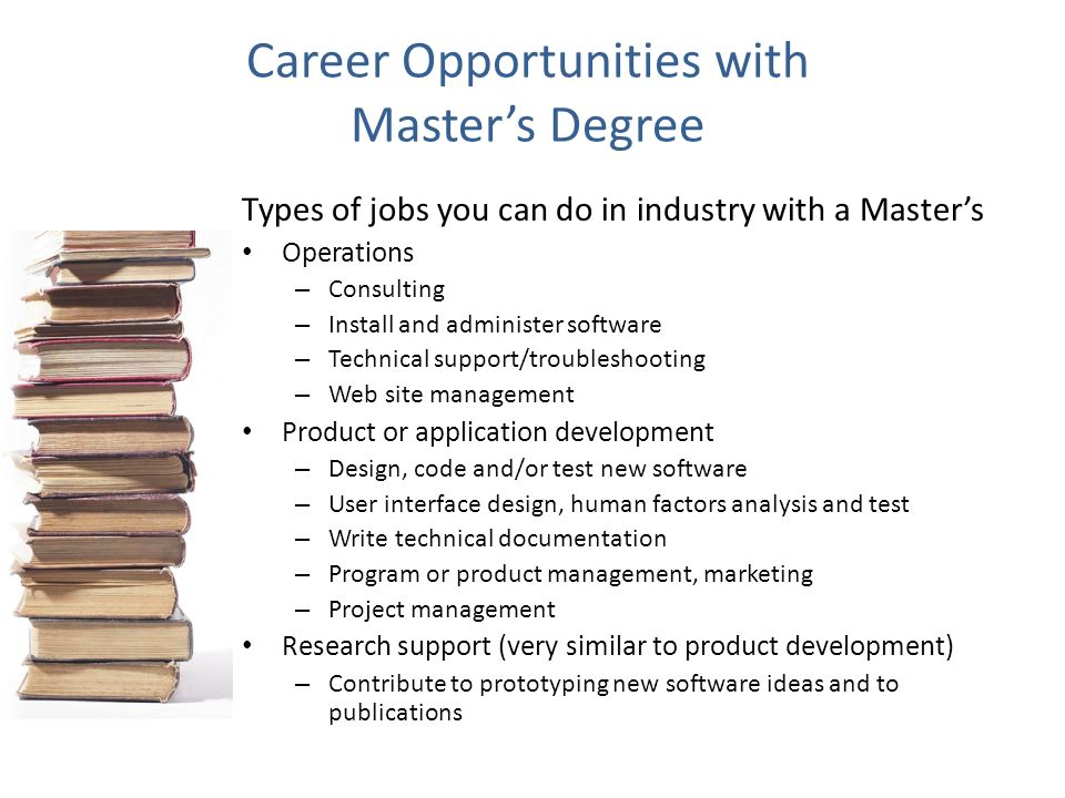 Career Opportunities with Master's Degree