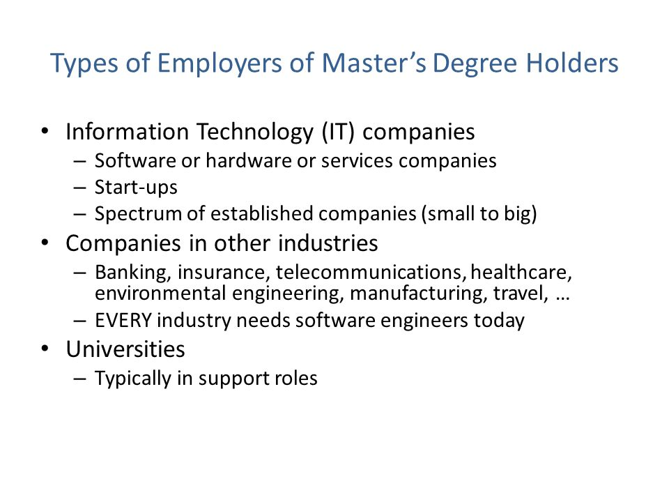 Types of Employers of Master's Degree Holders