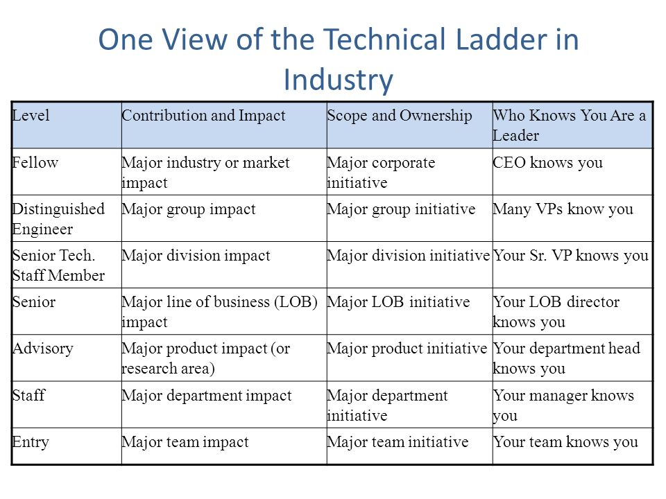 One View of the Technical Ladder in Industry