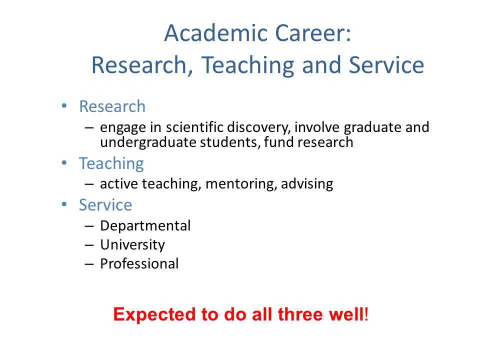 Academic Career: Research, Teaching and Service