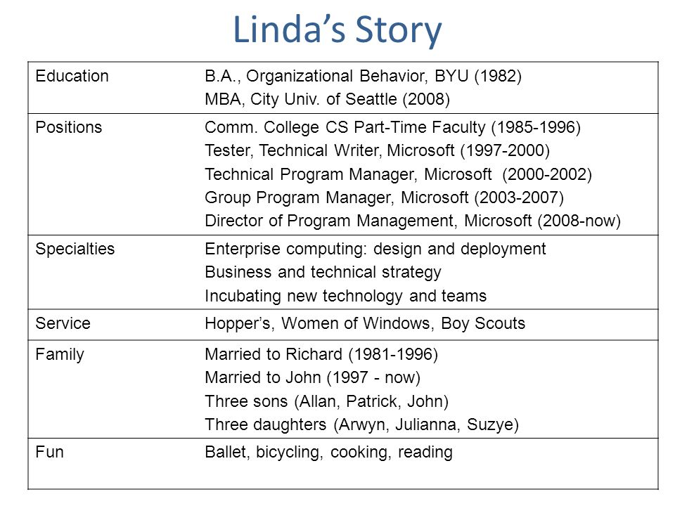 Linda's Story Education B.A., Organizational Behavior, BYU (1982)