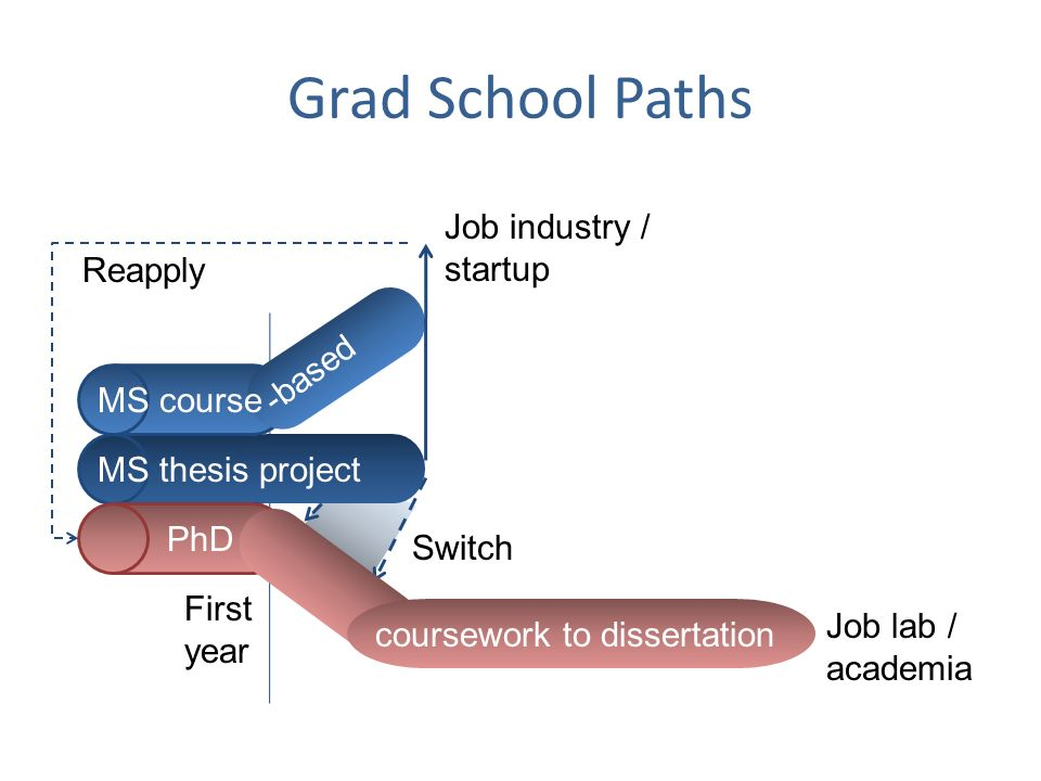 Grad School Paths Job industry / startup Reapply -based MS course