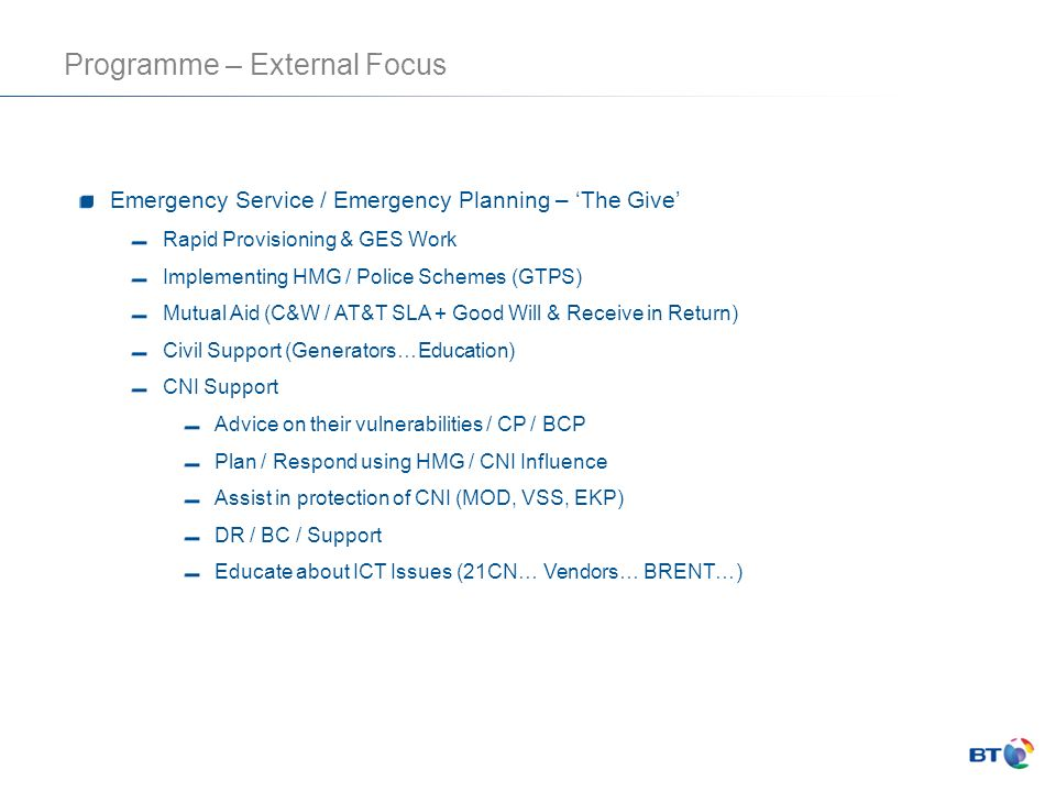 Programme – External Focus
