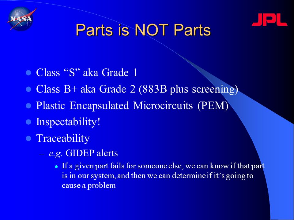 Parts is NOT Parts Class S aka Grade 1