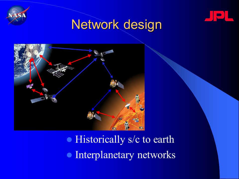 Network design Historically s/c to earth Interplanetary networks