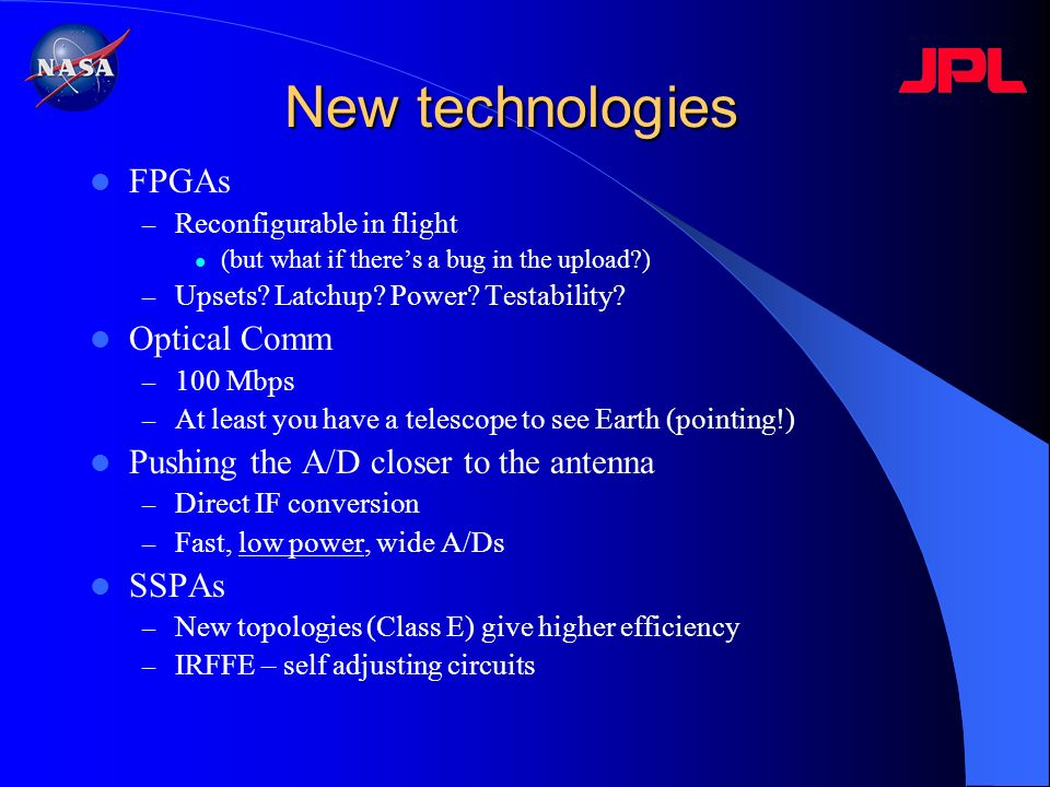 New technologies FPGAs Optical Comm